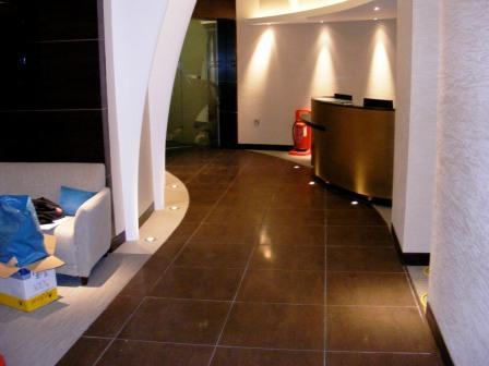 Cocoa Porcelain Tiled Reception After Cleaning and Sealing