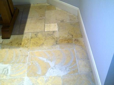 Kitchen Stone Floor Before Cleaning