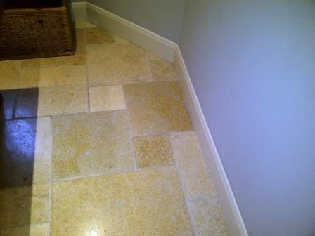 Kitchen Stone Floor After Cleaning Honing and Sealing