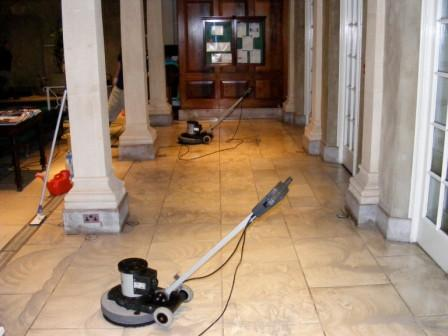 Limestone Floor During Cleaning
