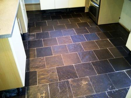 Slate Kitchen Floor After Cleaning and Sealing