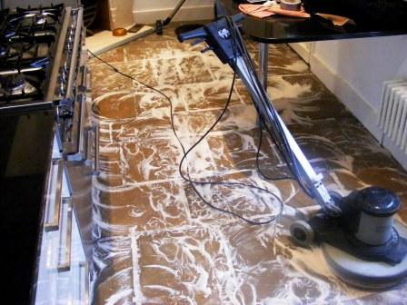 Stone Floor During Cleaning