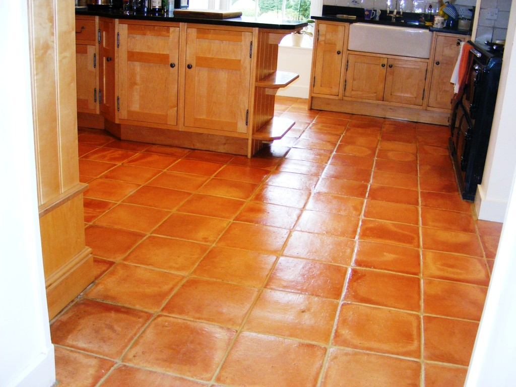 Cleaned and Sealed Mexican Terracotta floor