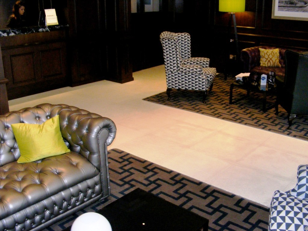 Limestone Floor London Hotel Reception before restoration