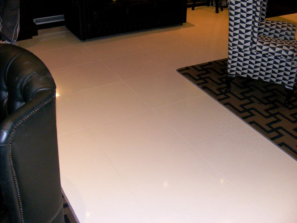 Limestone Floor in London Hotel After Honing and Polishing