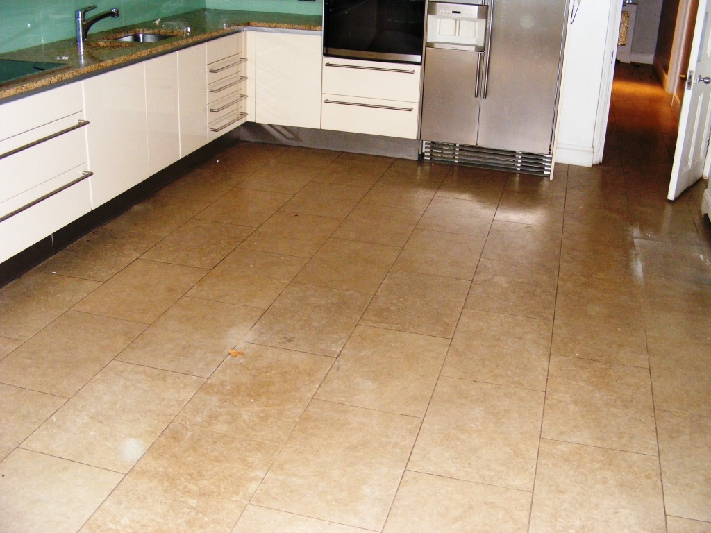 Limestone Kitchen Floor Tiles Before Cleaining