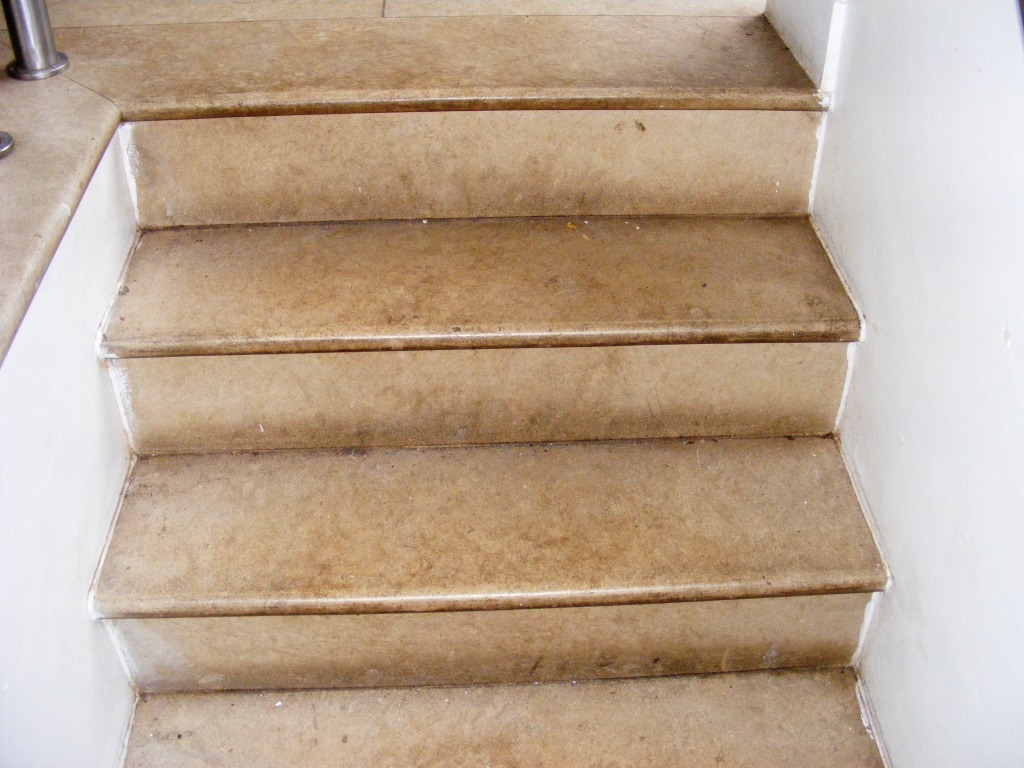 Limestone Steps Before Cleaining