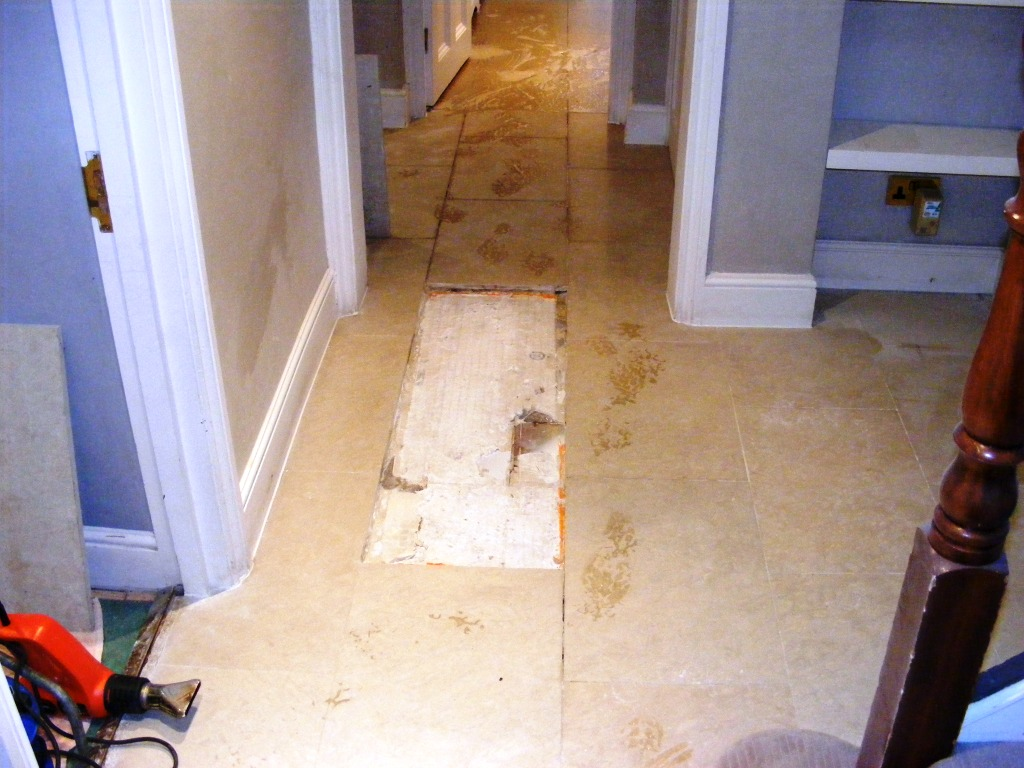 Limestone Tile Repair Prep