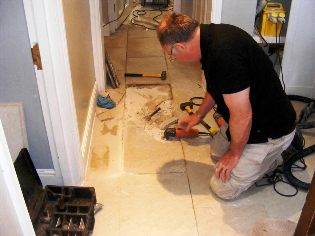 Limstone Floor Tile Replacement Prep
