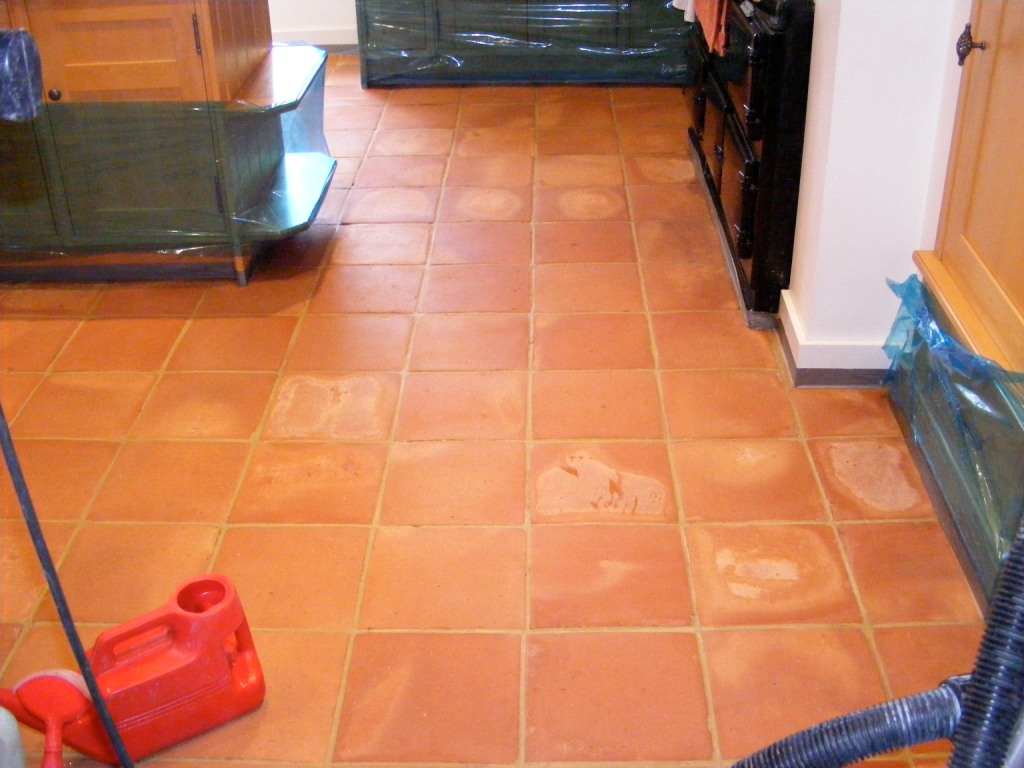 Mexican Terracotta After cleaning ready for sealing