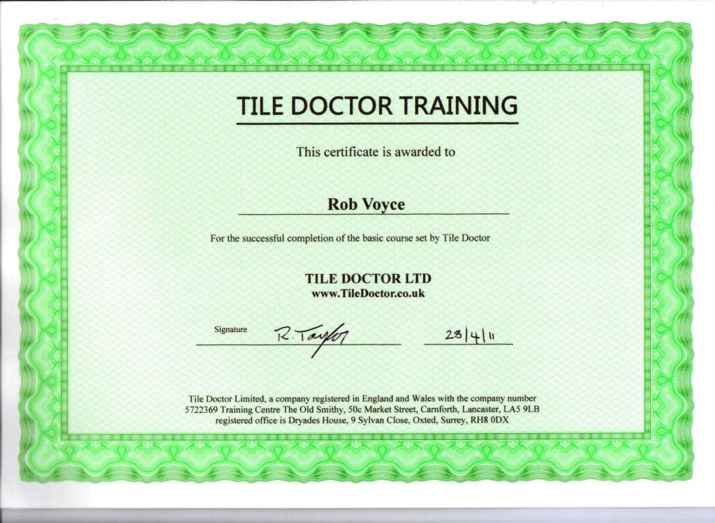 Rob Training Course Certifcate