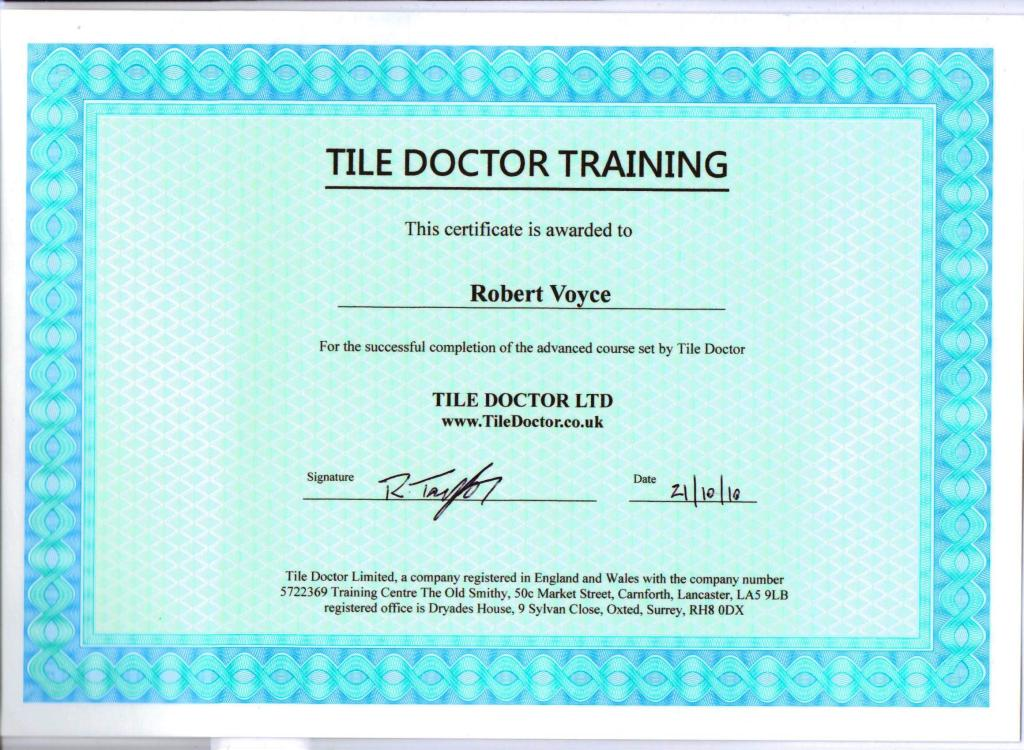 Rob Advanced Training Course Certifcate