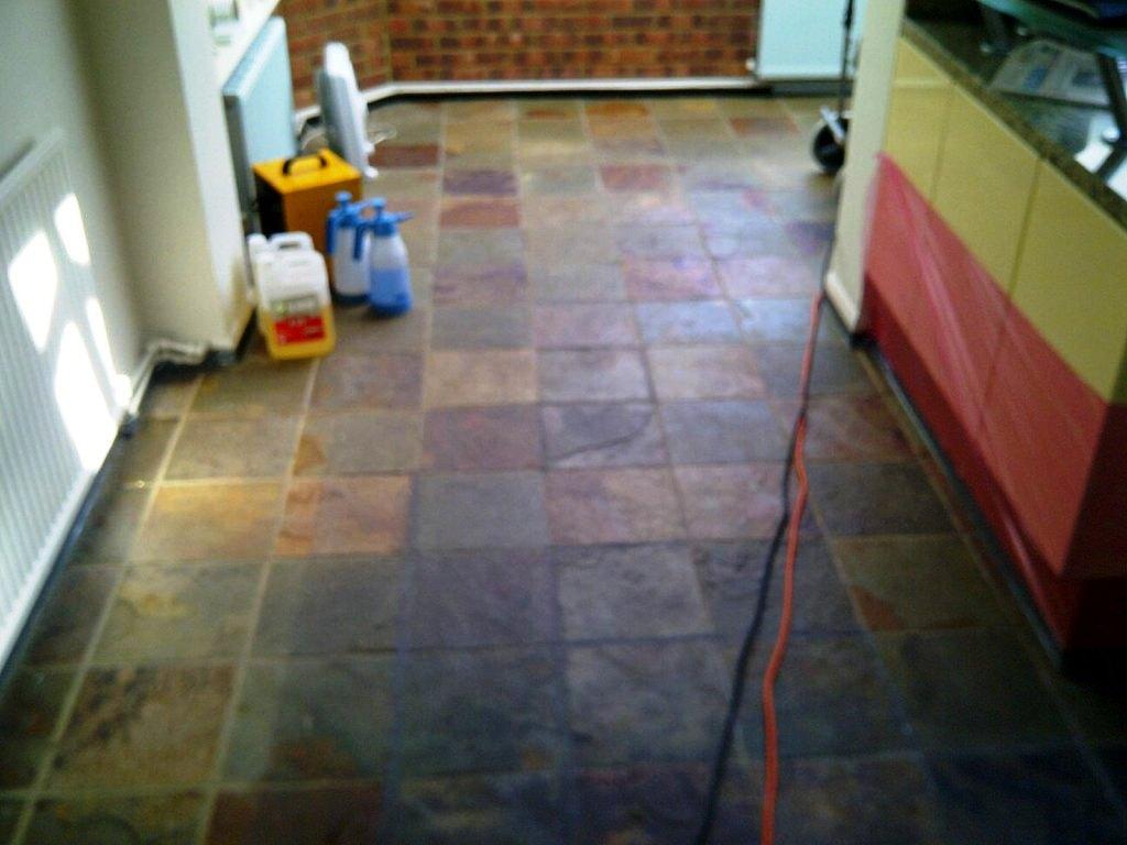 Slate floor before restoration