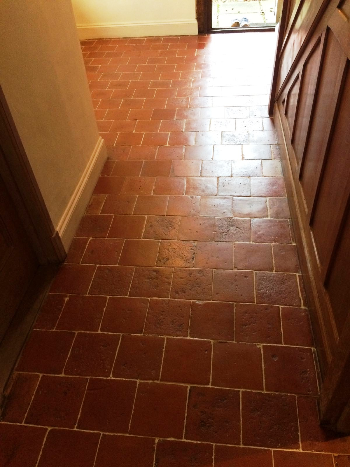 Old Quarry Tiles After Cleaning Hemel Hempstead Farmhouse
