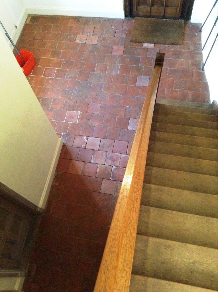 Old Quarry Tiles Before Cleaning Hemel Hempstead Farmhouse