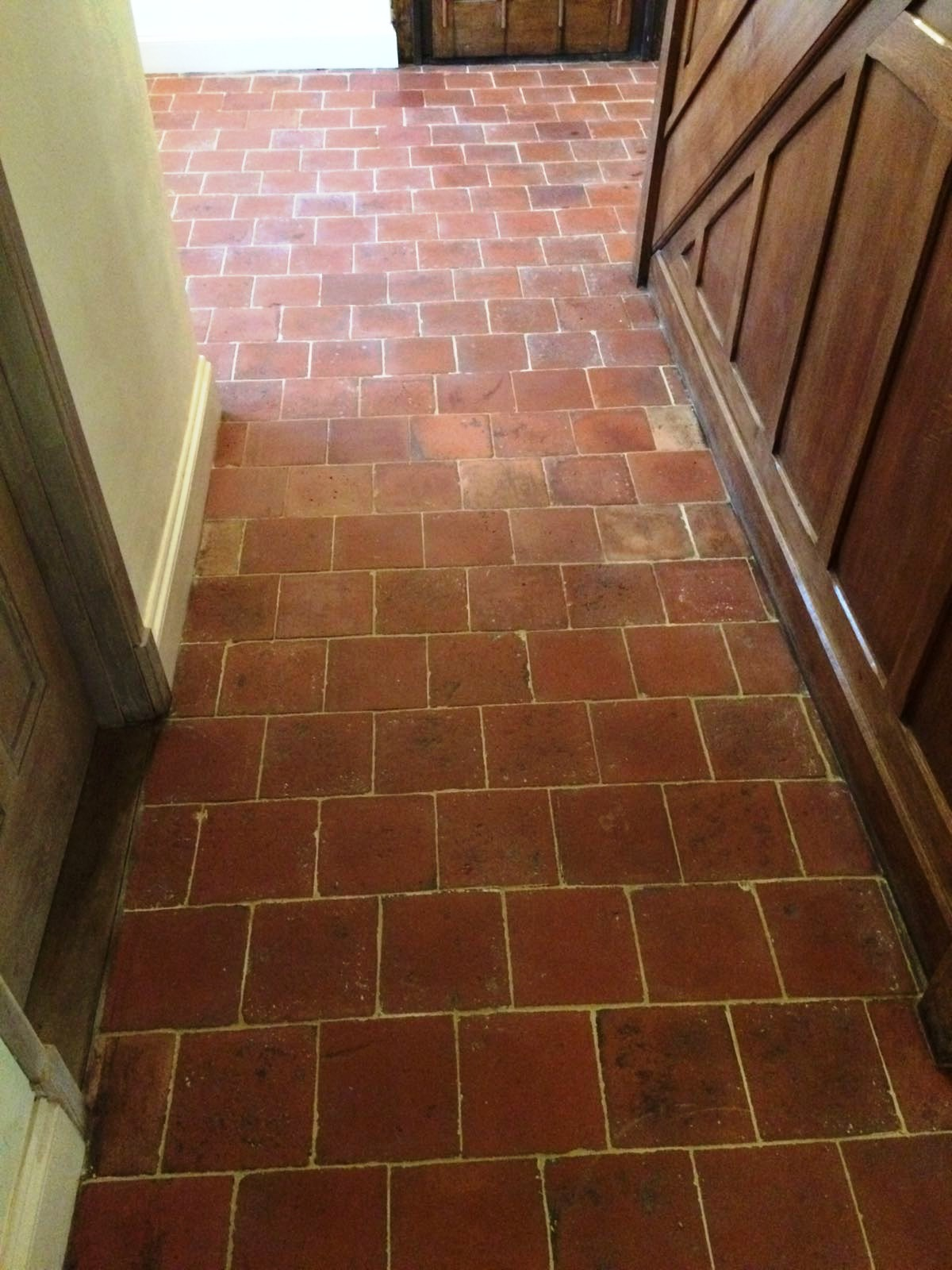 Old Quarry Tiles During Cleaning Hemel Hempstead Farmhouse