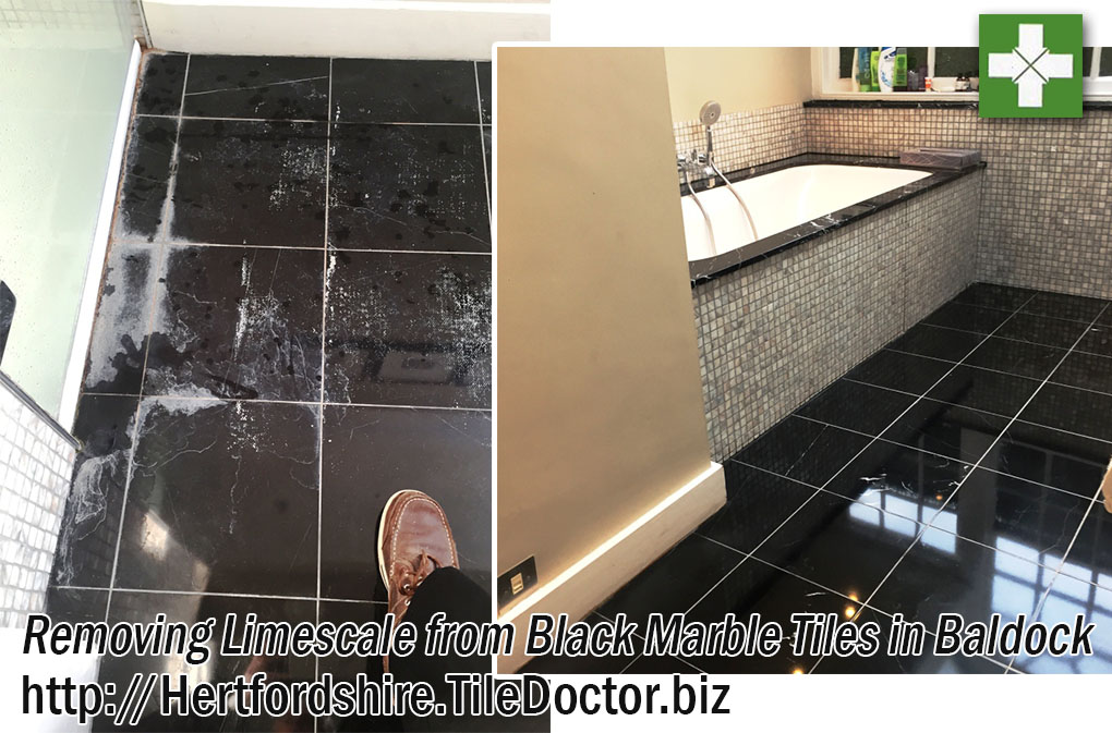 Black Marble Tiled Bathroom Floor Before and After Limescale Removal in Baldock