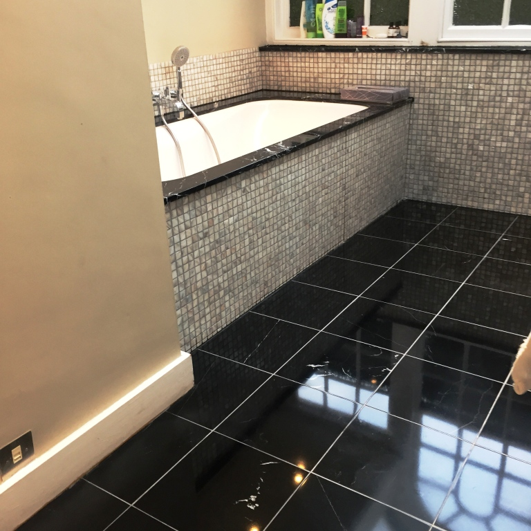 Black Polished Marble Bathroom Floor in Baldock After