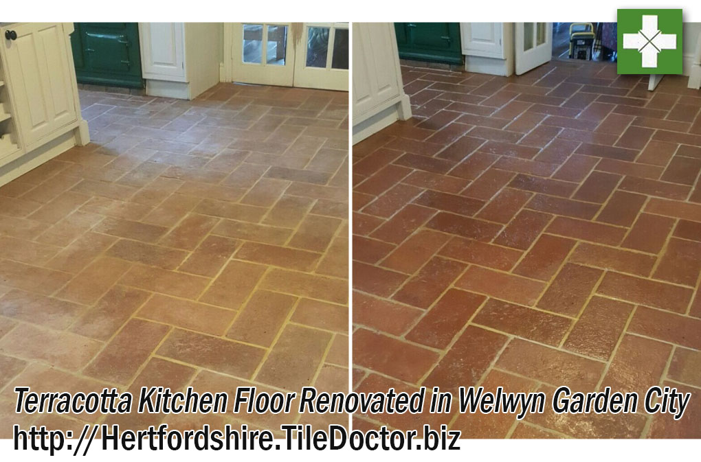 Terracotta Kitchen Floor Before and After Cleaning in Welwyn Garden City