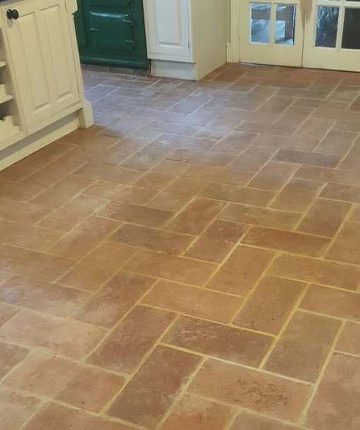 Terracotta Lodge Floor Tile Before Cleaning in Welwyn Garden City