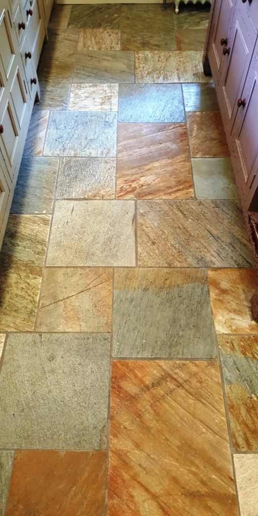Multi-Coloured Sawn Slate Kitchen Floor Datchworth After Cleaning