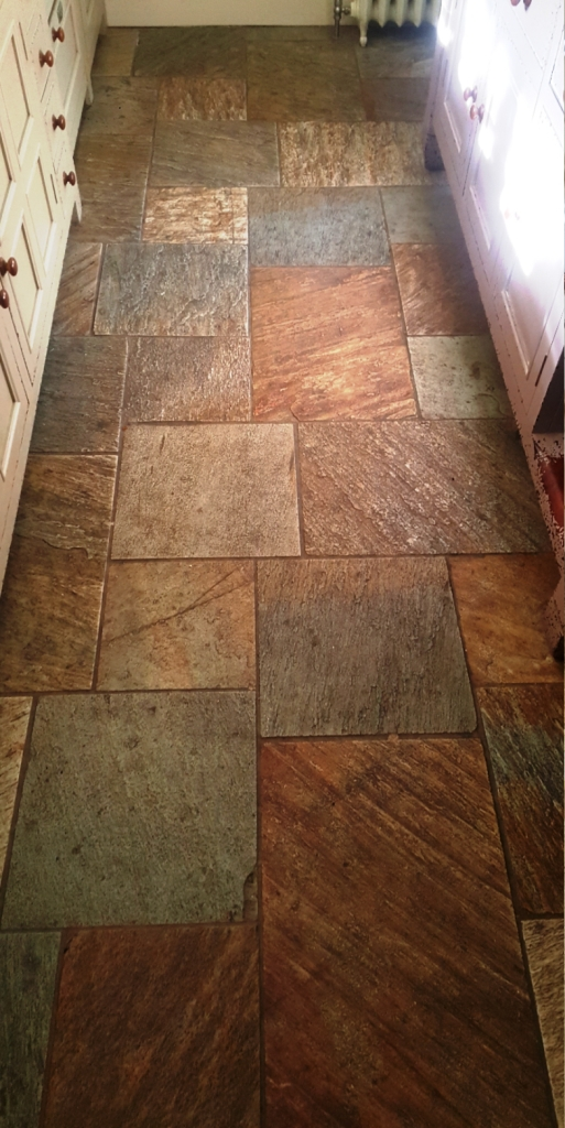 Multi-Coloured Sawn Slate Kitchen Floor Datchworth Before Cleaning