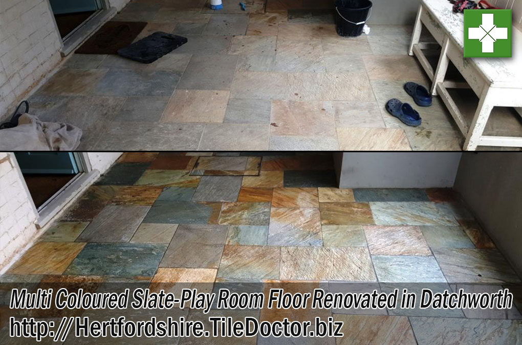 Multi-Coloured Slate Play Room Floor Before and After Renovation in Datchworth