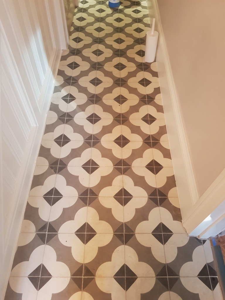 Encaustic Tiled Hallway Before Cleaning Berkhamstead