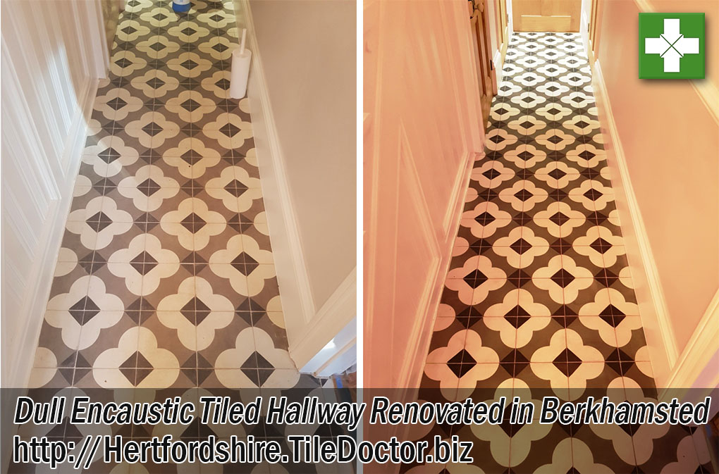Encaustic Tiled Hallway Before and After Cleaning Berkhamsted