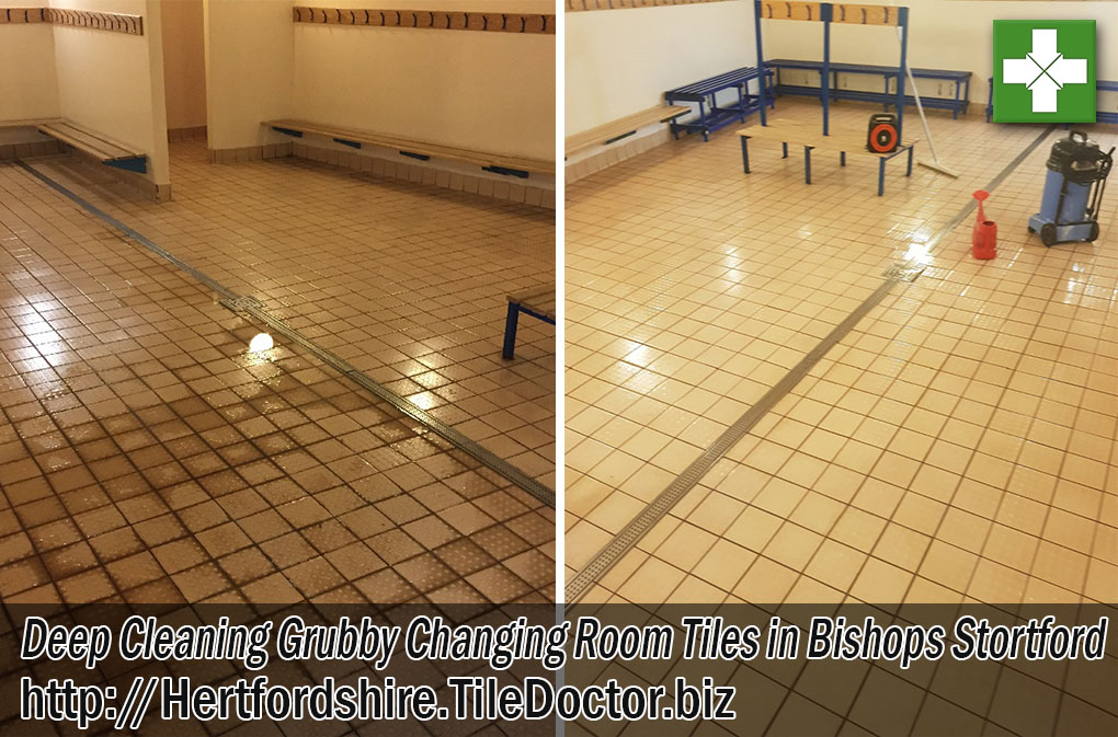 Ceramic Tiled Changing Room Tiles Before and After Cleaning Bishops Stortford