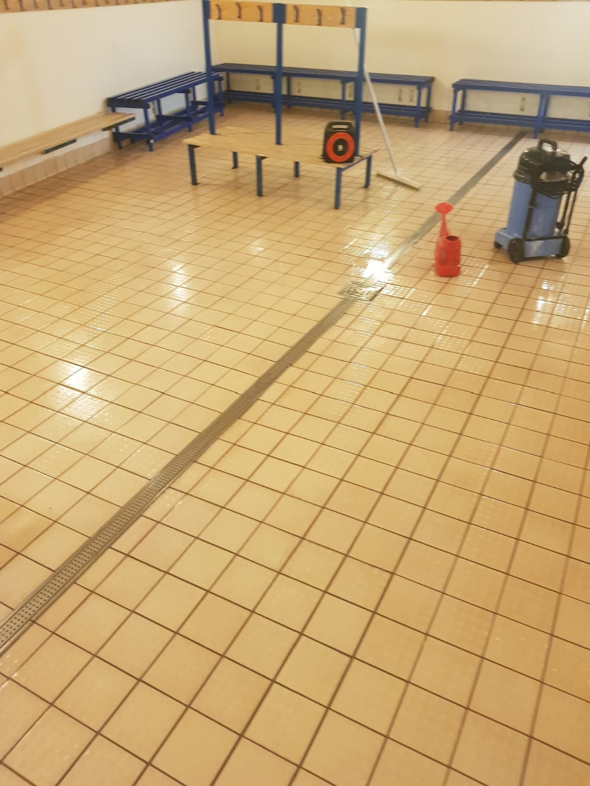 Grubby Ceramic After Cleaning at Bishop Stortford Changing Rooms