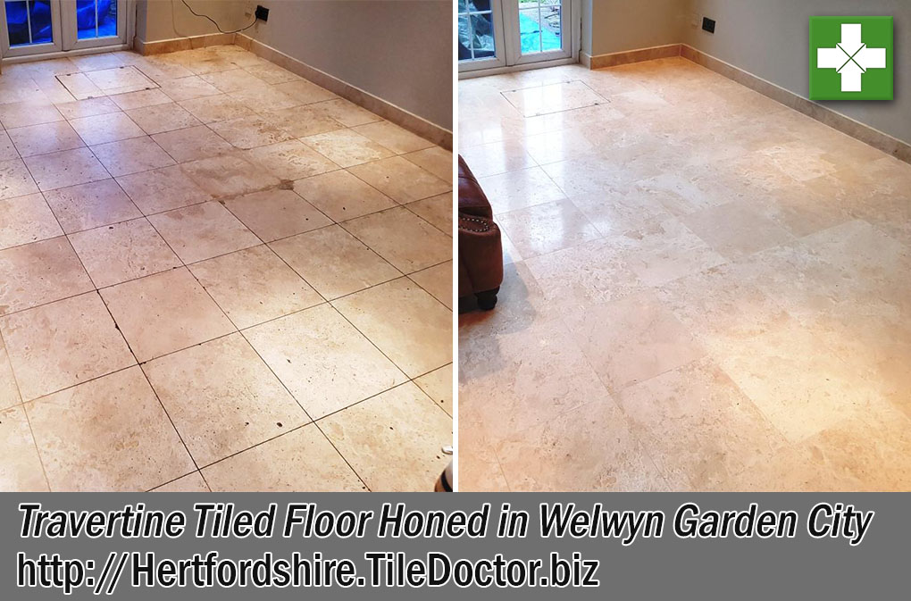 Travertine Tiled Floor Before and After Honing Welwyn Garden City
