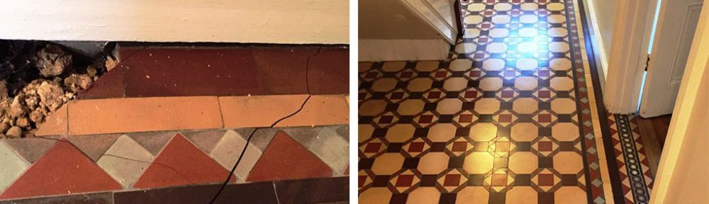 Edwardian Tiled Hallway Rebuilt and Restored in Harpenden