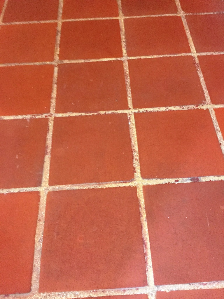 Quarry Tiled Entrance Lobby Restoration Hitchin Before Cleaning Showing Paint Staining