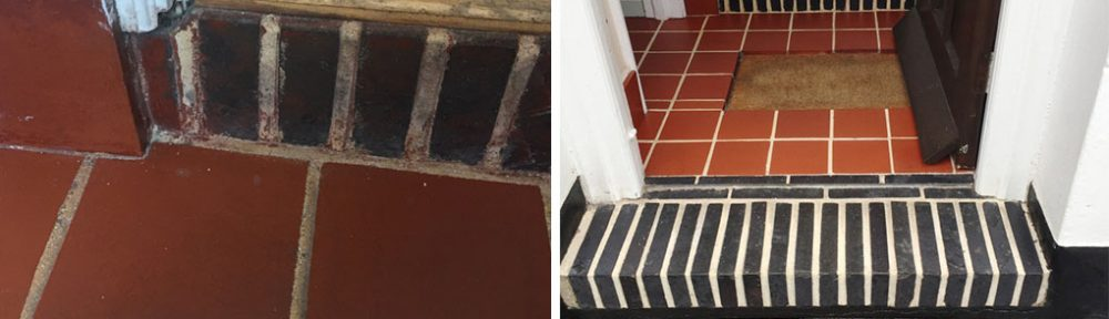 Stained Quarry Tiled Hallway Floor Restored in Hitchin