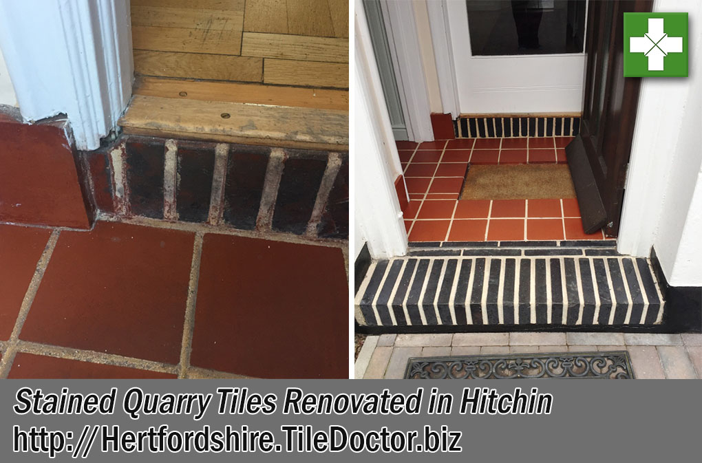 Stained Quarry Tiles Before After Renovation Hitchin