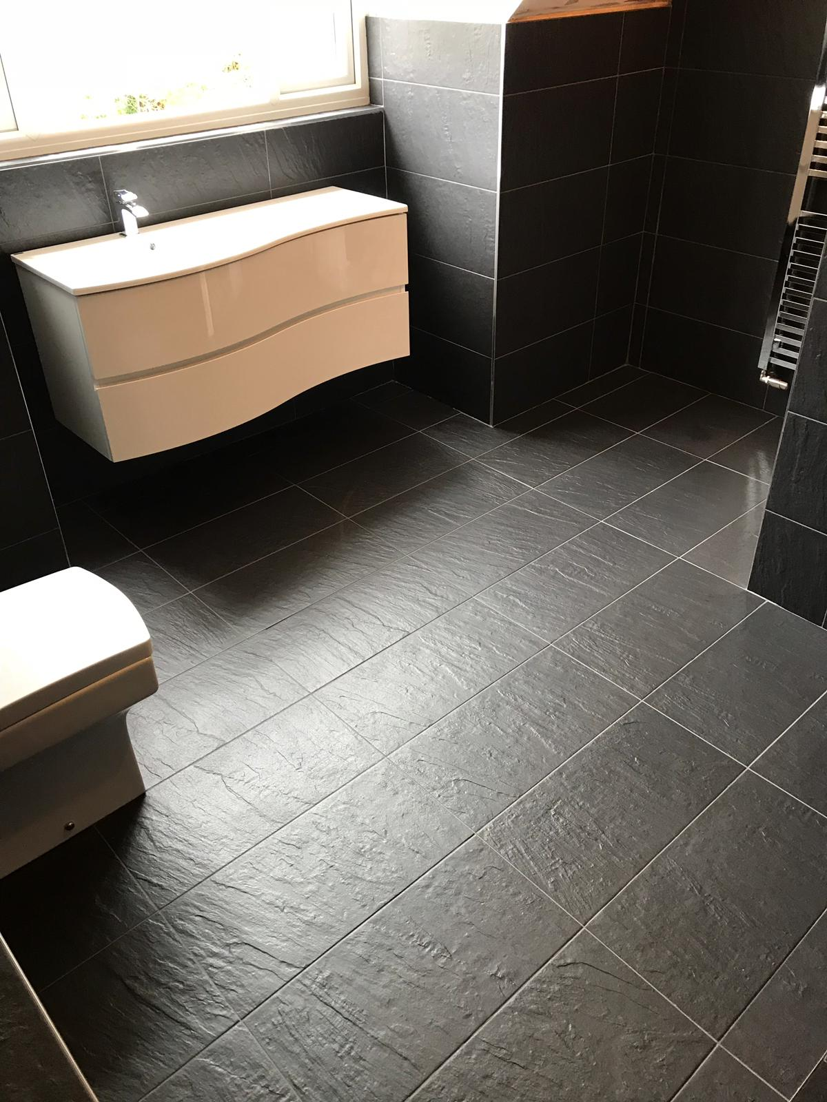 Black Porcelain Bathroom Floor After Cleaning Stevenage