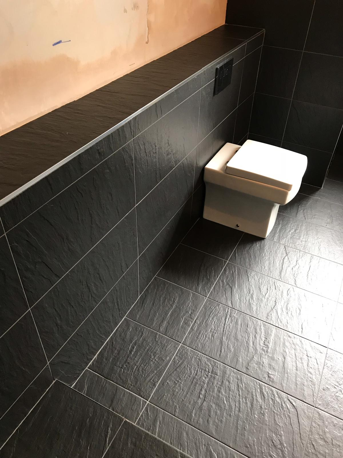 Black Porcelain Bathroom Floor After Cleaning Stevenage