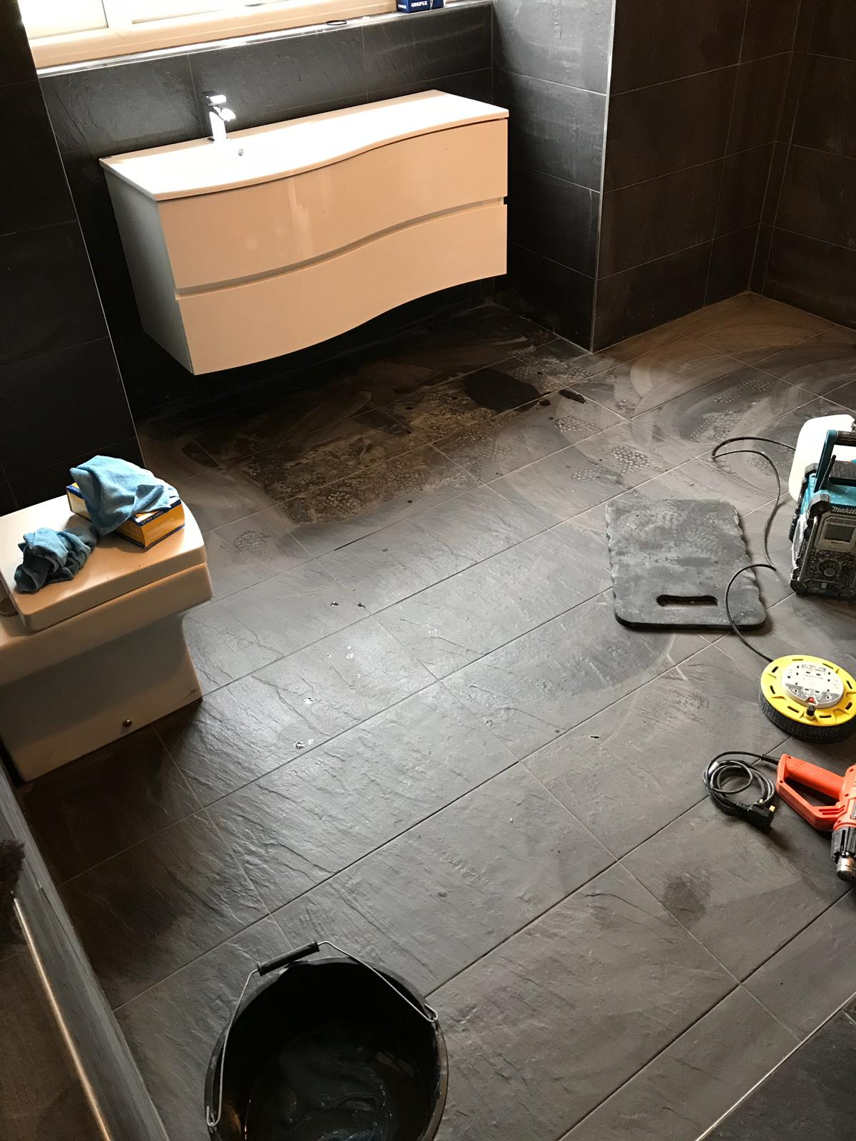 Black Porcelain Bathroom Floor Before Cleaning Stevenage