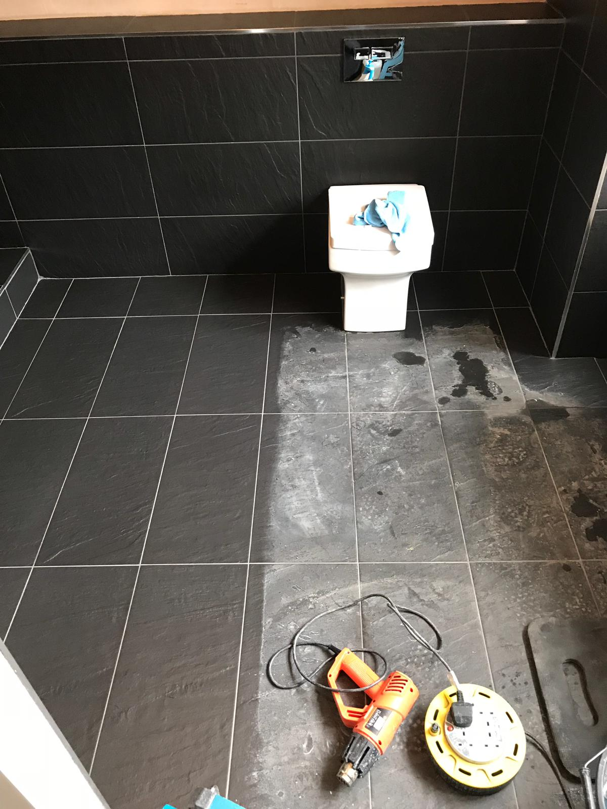 Black Porcelain Bathroom Floor During Cleaning Stevenage