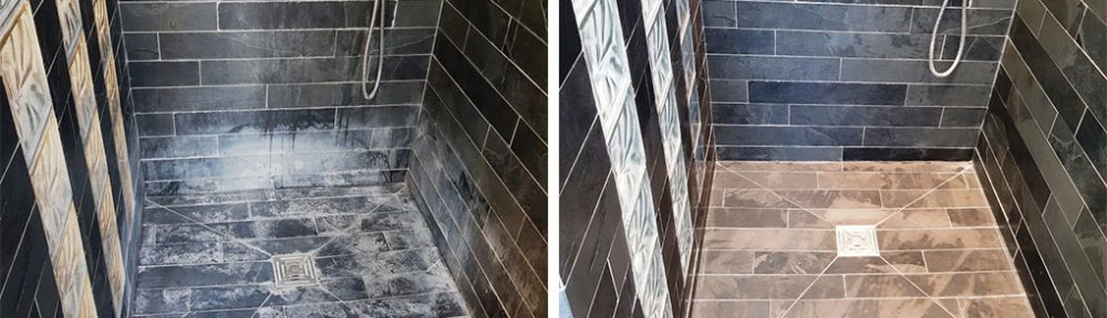 Limescale Stained Slate Tiles Before After Renovation Stevenage Hertfordshire