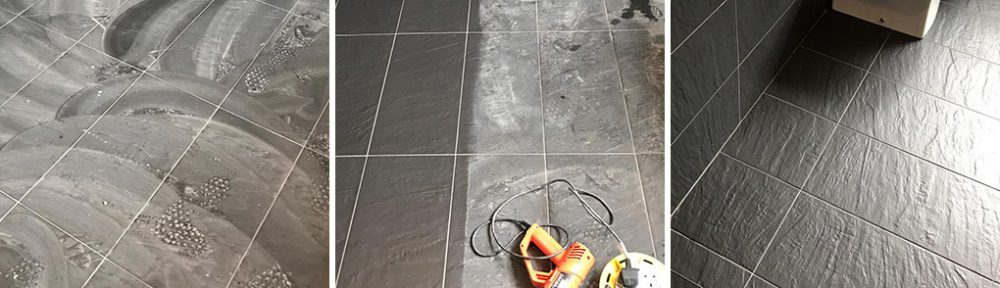 Removing Grout Haze from Black Porcelain Bathroom Tiles, Stevenage