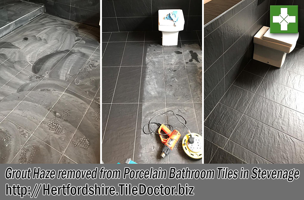 Porcelain Bathroom Tile Floor Before After Cleaning Stevenage