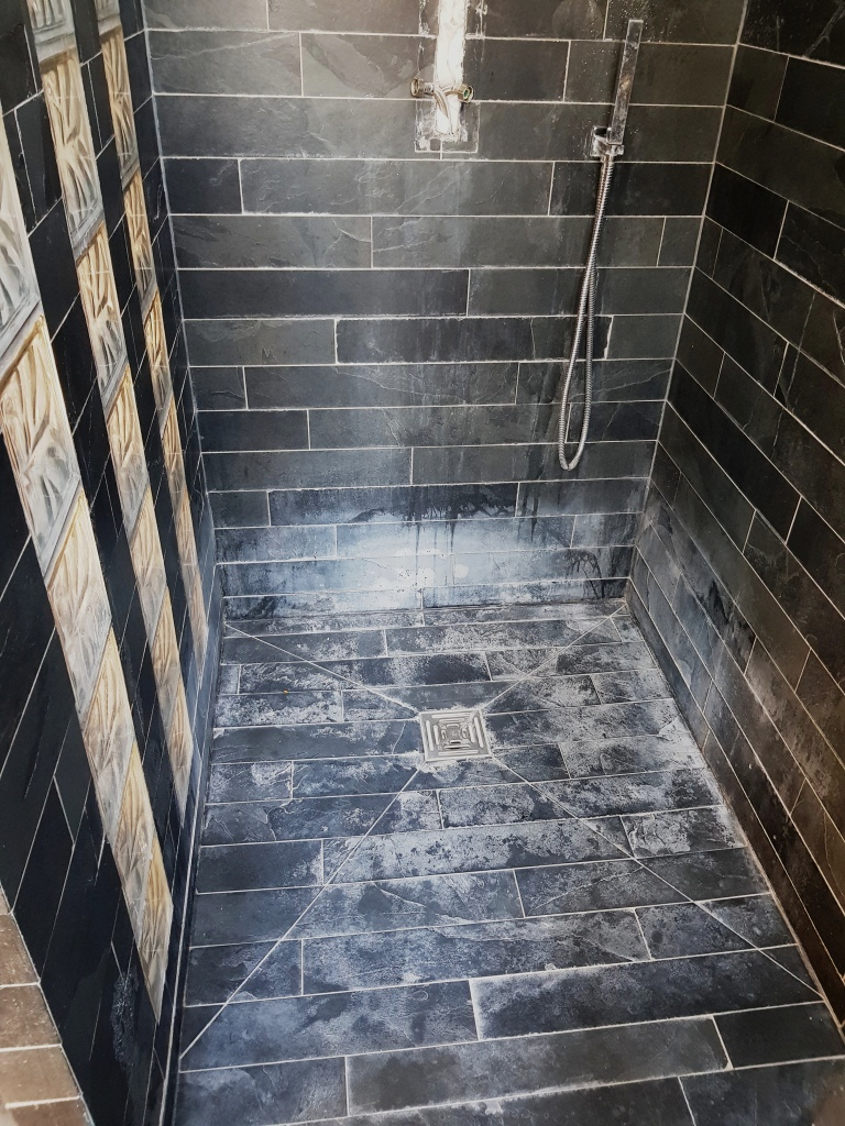 Slate Shower Tiles Stained With