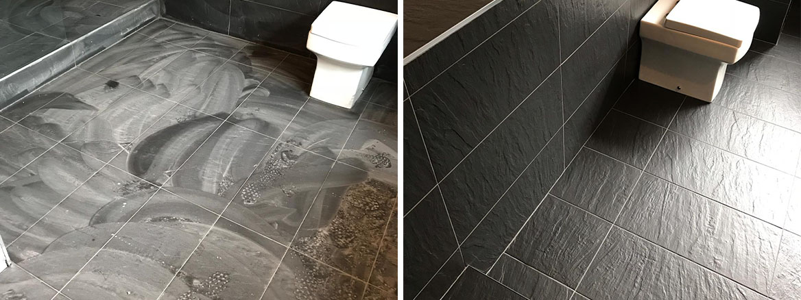 Black Porcelain Bathroom Floor Before and After Cleaning Stevenage