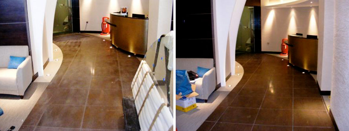 Cocoa Porcelain Tiled Reception Before and After Cleaning and Sealing