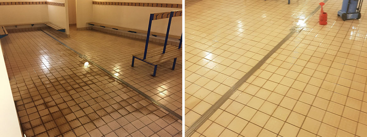 Grubby Ceramic Tiles Before and After Cleaning at Bishop Stortford Changing Rooms