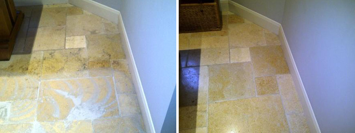 Kitchen Stone Floor Before and After Cleaning Honing and Sealing