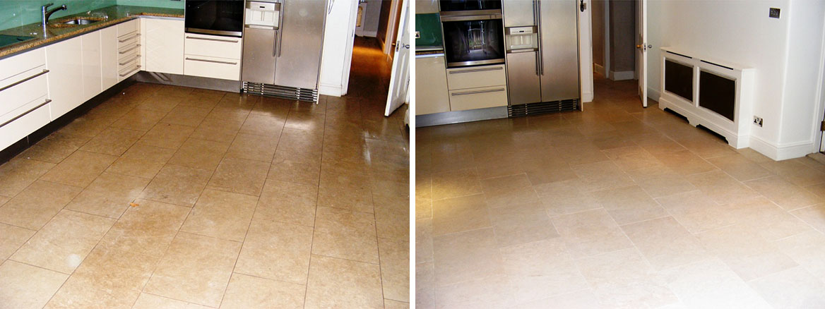 Limestone Kitchen Floor Tiles Before and After Cleaning