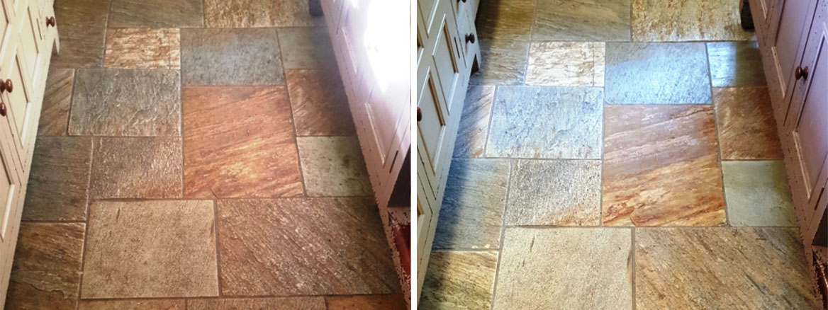 Multi Coloured Sawn Slate Kitchen Floor Datchworth Before and After Cleaning
